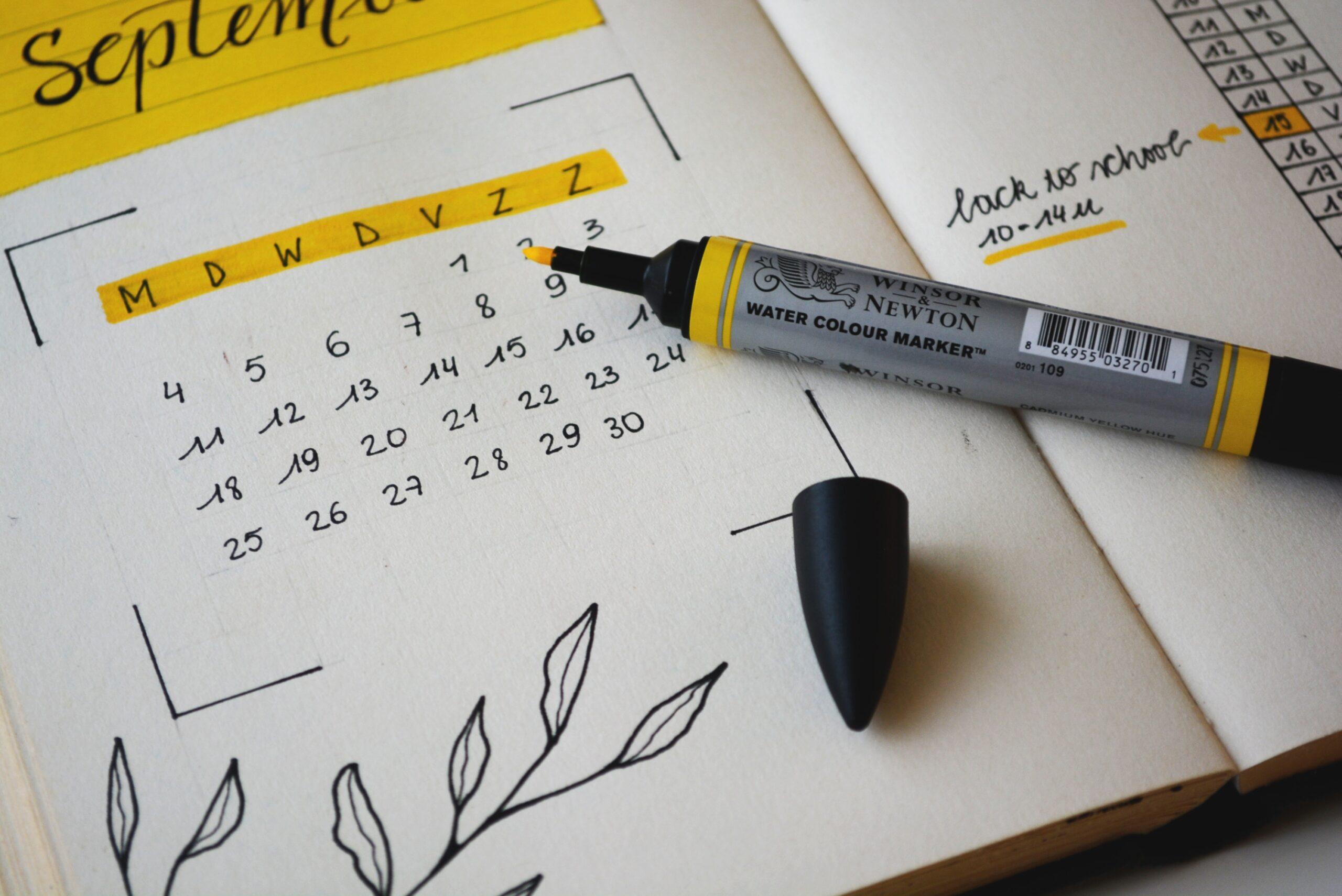 social media content calendar highlight